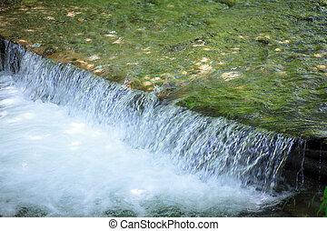 pequeno, montanha, cachoeira, rio