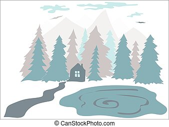pequeno, montanhas, floresta, casa lago