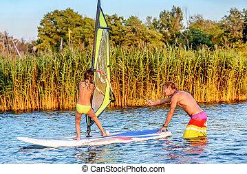 pequeno, montenegro, bojana, como, windsurf, aprendizagem, ada, menina