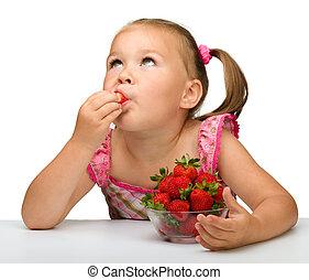 pequeno, morangos, come, menina, feliz