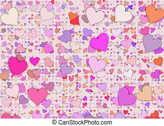 pequeno, muitos,  Multicolored, fundos, corações
