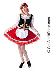 pequeno, mulher, posar, traje, montando, capuz, vermelho