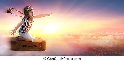pequeno, nuvens, sobre, pôr do sol, mala, menina, viagem