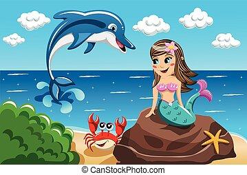 pequeno, observar, golfinho, pular, rocha, sentando, sorrindo, sereia