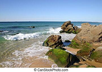 pequeno, ondas, choque, pedras, em, cabeça vermelha, praia,...
