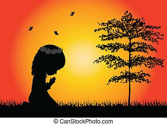 pequeno, orando, silueta, menina