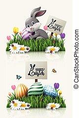 pequeno, ovos, flores coloridas, saudação, coelho, capim, páscoa, cartão