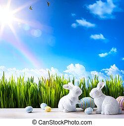 pequeno, páscoa, arte, capim, coelhinho, verde, ovos