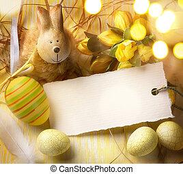 pequeno, páscoa, arte, coelhinho, ovos