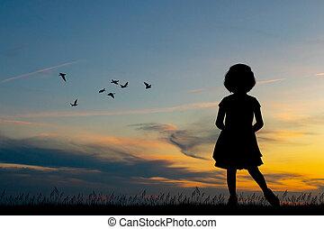 pequeno, pôr do sol, menina