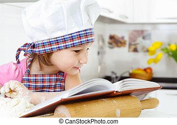 pequeno, padeiro, biscoitos, preparar, cookbook, chapéu