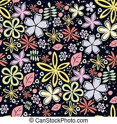 pequeno, padrão, seamless, experiência., pretas, lote, floral, flores