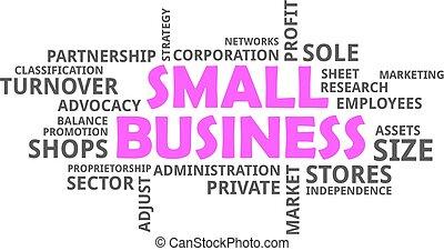 pequeno, palavra, -, nuvem, negócio