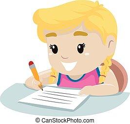 pequeno, papel, menina, escrita