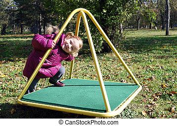 pequeno, parque, pátio recreio, menina