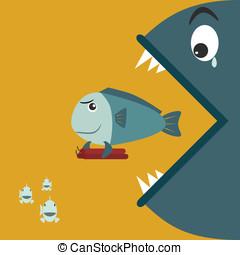pequeno, peixe grande, comer