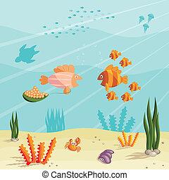 pequeno, peixes, vida