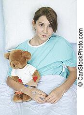 pequeno, pelúcia, hospitalar, urso, cama, menina