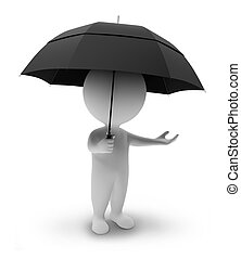 pequeno, people-umbrella, 3d