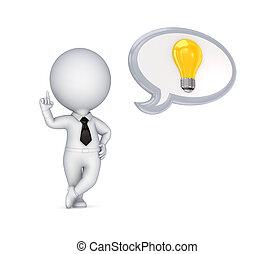 pequeno, pessoa, 3d, idéia, símbolo.