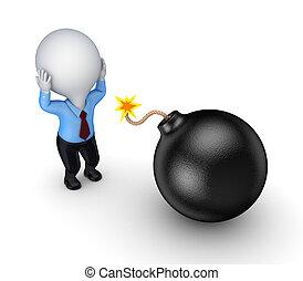 pequeno, pessoa, bomb., pretas, 3d