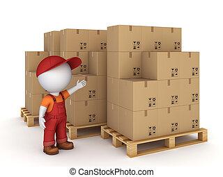 pequeno, pessoa, caixa papelão, boxes., 3d