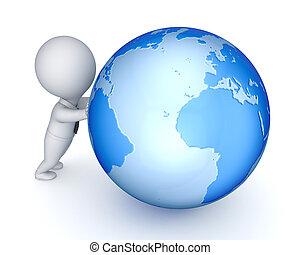 pequeno, pessoa, globe., 3d