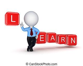 pequeno, pessoa, palavra, learn., 3d