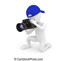 pequeno, pessoa, photographer., 3d