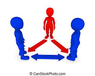 pequeno, pessoas., liderança, concept., 3d