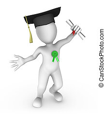 pequeno, pessoas., student., graduação, 3d
