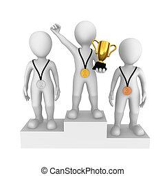 pequeno, pessoas., vencedor, cup., 3d