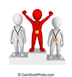 pequeno, pessoas., vermelho, winner., 3d