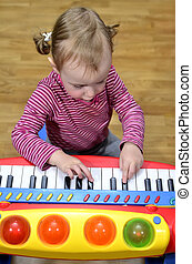 pequeno, piano, menina, tocando