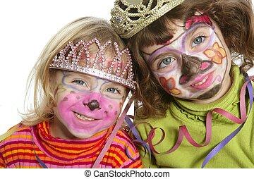 pequeno, pintado, dois, rosto, irmãs, partido, feliz