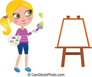 pequeno, pintar escova, menina, caricatura, pintor, feliz