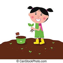 pequeno, plantar, feliz, planta, criança