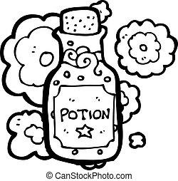 pequeno, poção, garrafa, caricatura