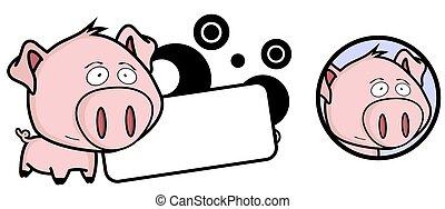 pequeno, porca, cabeça grande, expressão, jogo