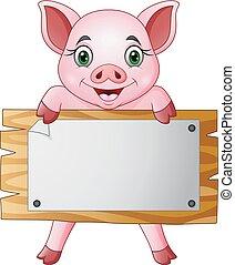 pequeno, porca, tábua, segurando, em branco, caricatura