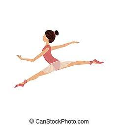 pequeno, posição, dançarino, lanças, coloridos