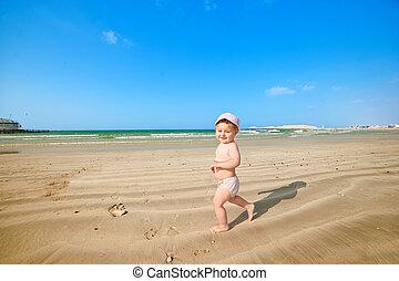 pequeno, praia, criança