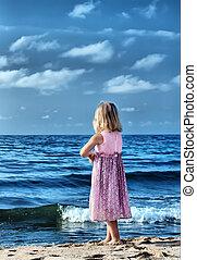 pequeno, praia, menina