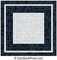 pequeno, preto branco, azulejos, chão, covering., branca, center.