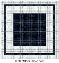 pequeno, preto branco, azulejos, chão, covering., pretas, centro