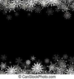 pequeno, quadro, layered, snowflakes