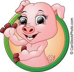 pequeno, quadro, porca, bebê, sorrindo, caricatura, redondo, feliz