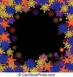 pequeno, quadro, snowflakes, coloridos, retangular