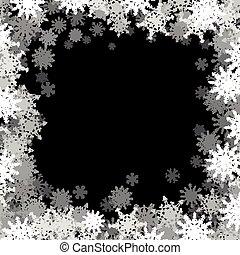 pequeno, quadro, snowflakes, retangular