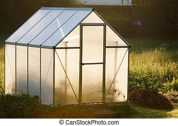 pequeno, quintal, estufa
